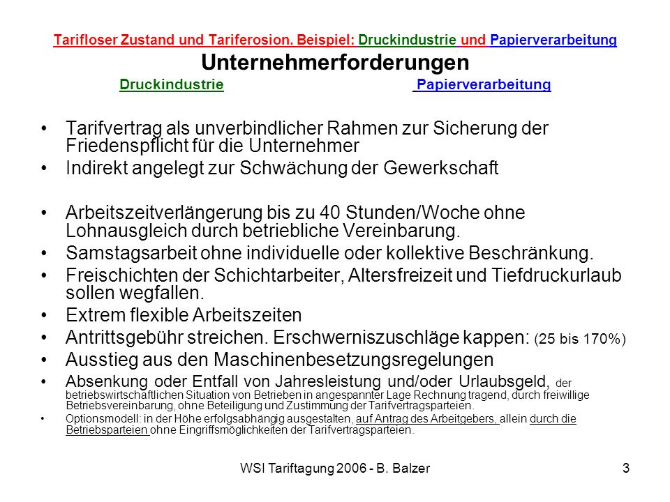 WSI Tariftagung 2006 - B. Balzer3 Tarifloser Zustand und Tariferosion. Beispiel: Druckindustrie und Papierverarbeitung Unternehmerforderungen Druckind