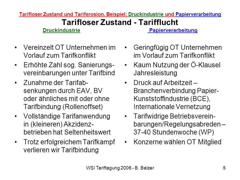 WSI Tariftagung 2006 - B.Balzer6 Tarifloser Zustand und Tariferosion.