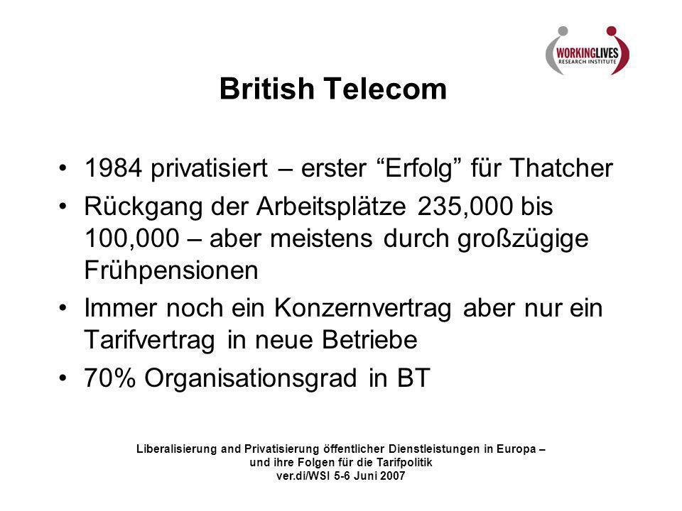 Liberalisierung and Privatisierung öffentlicher Dienstleistungen in Europa – und ihre Folgen für die Tarifpolitik ver.di/WSI 5-6 Juni 2007 British Tel