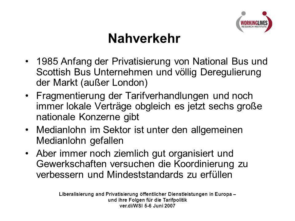 Liberalisierung and Privatisierung öffentlicher Dienstleistungen in Europa – und ihre Folgen für die Tarifpolitik ver.di/WSI 5-6 Juni 2007 Nahverkehr
