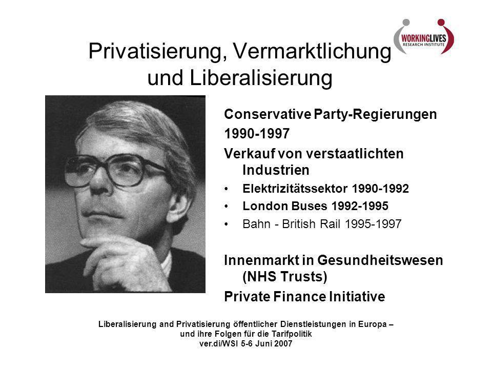Liberalisierung and Privatisierung öffentlicher Dienstleistungen in Europa – und ihre Folgen für die Tarifpolitik ver.di/WSI 5-6 Juni 2007 Privatisierung, Vermarktlichung und Liberalisierung Labour Regierungen 1997-.