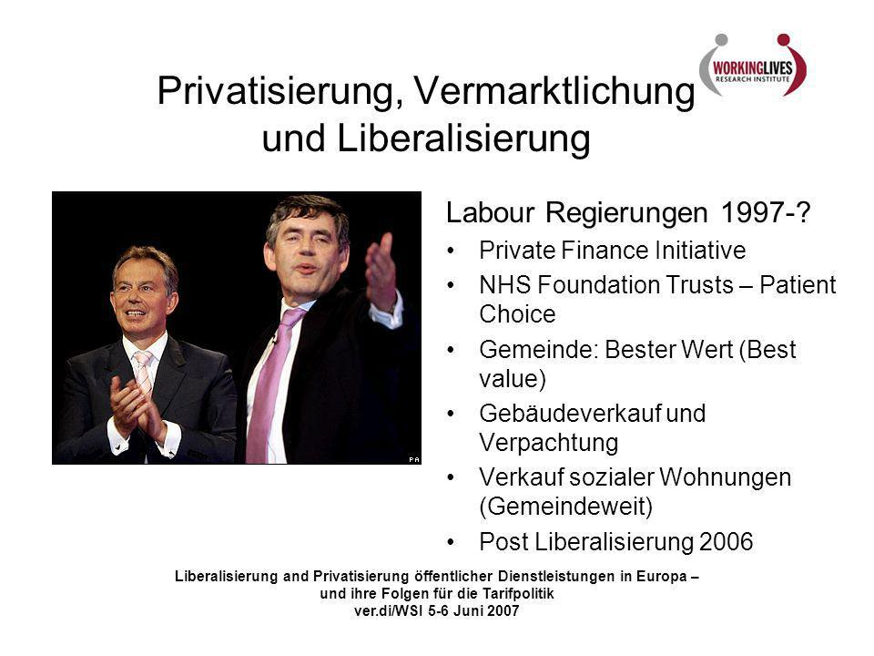 Liberalisierung and Privatisierung öffentlicher Dienstleistungen in Europa – und ihre Folgen für die Tarifpolitik ver.di/WSI 5-6 Juni 2007 Privatisier