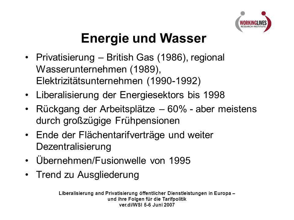 Liberalisierung and Privatisierung öffentlicher Dienstleistungen in Europa – und ihre Folgen für die Tarifpolitik ver.di/WSI 5-6 Juni 2007 Energie und