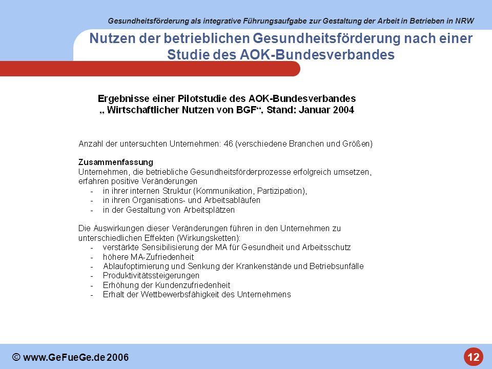 Gesundheitsförderung als integrative Führungsaufgabe zur Gestaltung der Arbeit in Betrieben in NRW 12 © www.GeFueGe.de 2006 Nutzen der betrieblichen G
