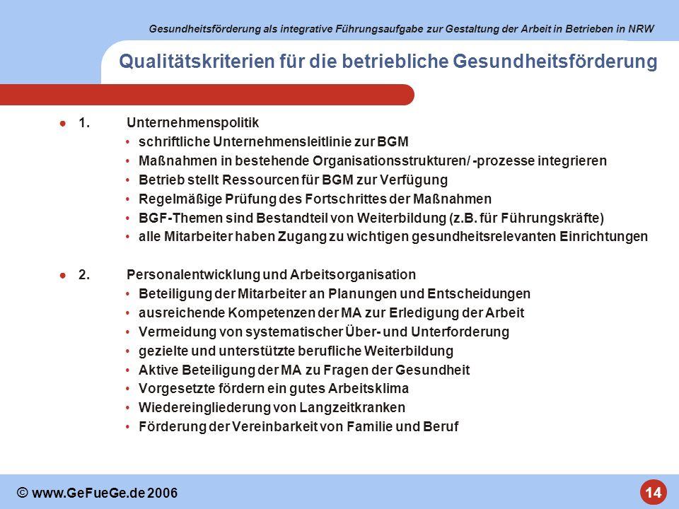 Gesundheitsförderung als integrative Führungsaufgabe zur Gestaltung der Arbeit in Betrieben in NRW 14 © www.GeFueGe.de 2006 Qualitätskriterien für die