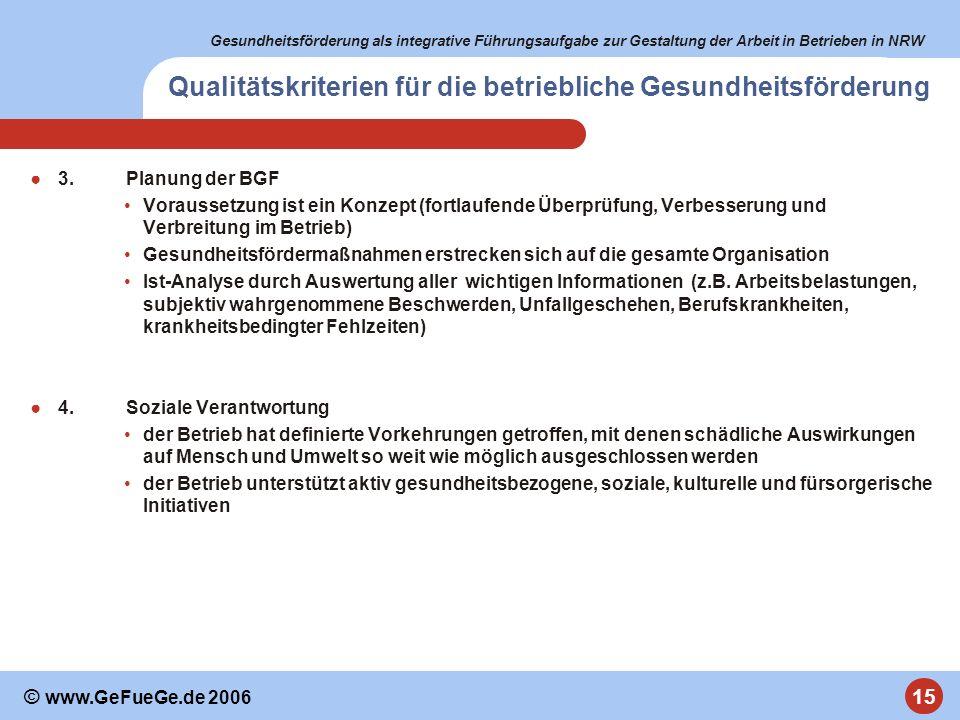 Gesundheitsförderung als integrative Führungsaufgabe zur Gestaltung der Arbeit in Betrieben in NRW 15 © www.GeFueGe.de 2006 Qualitätskriterien für die