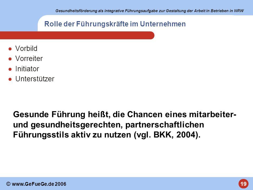 Gesundheitsförderung als integrative Führungsaufgabe zur Gestaltung der Arbeit in Betrieben in NRW 19 © www.GeFueGe.de 2006 Rolle der Führungskräfte i