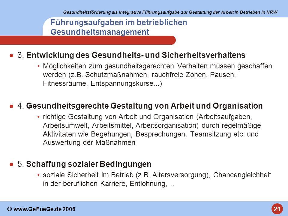 Gesundheitsförderung als integrative Führungsaufgabe zur Gestaltung der Arbeit in Betrieben in NRW 21 © www.GeFueGe.de 2006 Führungsaufgaben im betrie