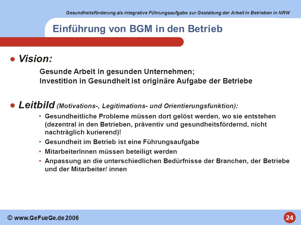 Gesundheitsförderung als integrative Führungsaufgabe zur Gestaltung der Arbeit in Betrieben in NRW 24 © www.GeFueGe.de 2006 Einführung von BGM in den