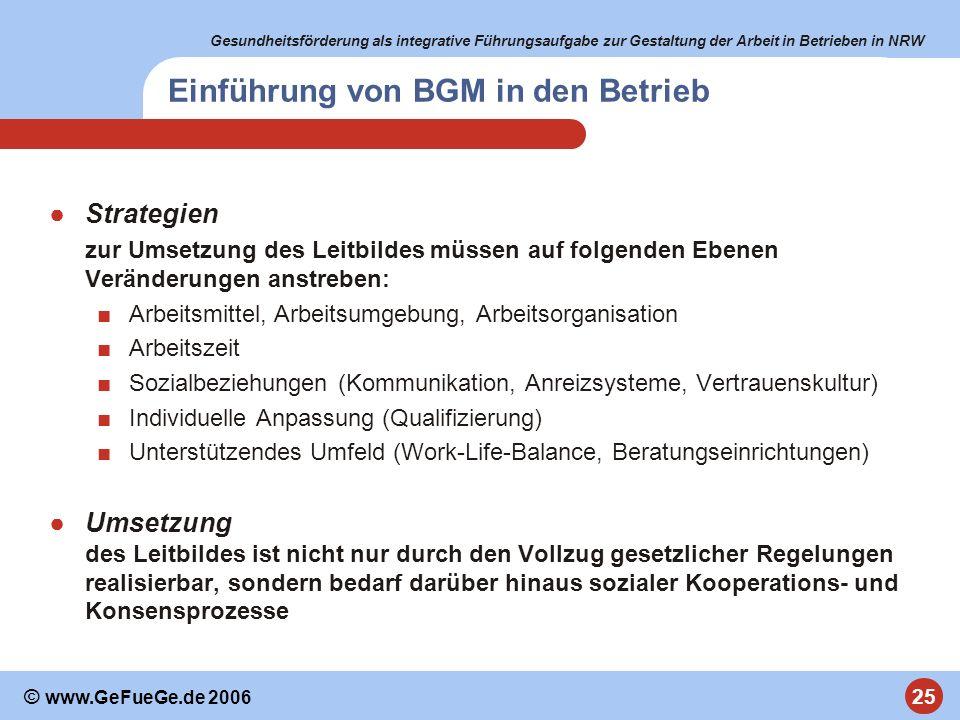 Gesundheitsförderung als integrative Führungsaufgabe zur Gestaltung der Arbeit in Betrieben in NRW 25 © www.GeFueGe.de 2006 Einführung von BGM in den