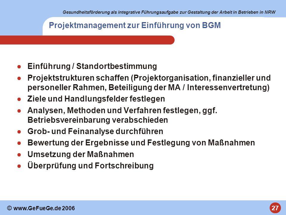 Gesundheitsförderung als integrative Führungsaufgabe zur Gestaltung der Arbeit in Betrieben in NRW 27 © www.GeFueGe.de 2006 Projektmanagement zur Einf