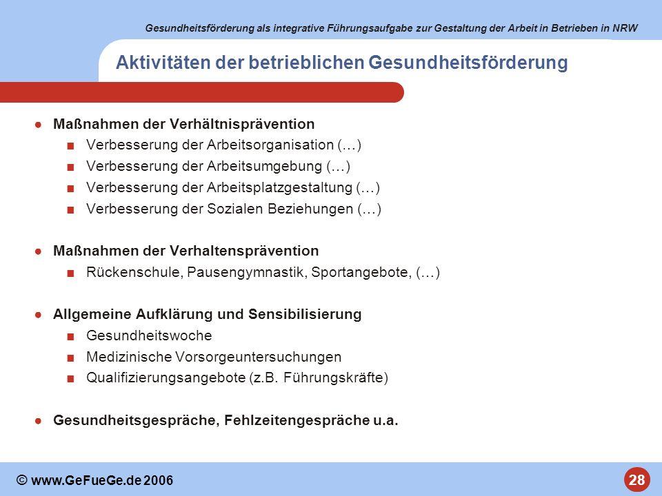 Gesundheitsförderung als integrative Führungsaufgabe zur Gestaltung der Arbeit in Betrieben in NRW 28 © www.GeFueGe.de 2006 Aktivitäten der betrieblic