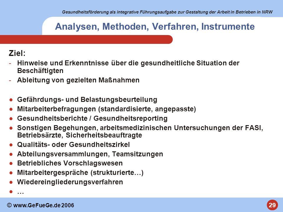 Gesundheitsförderung als integrative Führungsaufgabe zur Gestaltung der Arbeit in Betrieben in NRW 29 © www.GeFueGe.de 2006 Analysen, Methoden, Verfah