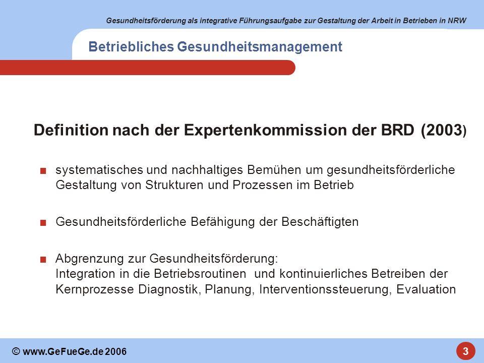 Gesundheitsförderung als integrative Führungsaufgabe zur Gestaltung der Arbeit in Betrieben in NRW 3 © www.GeFueGe.de 2006 Betriebliches Gesundheitsma