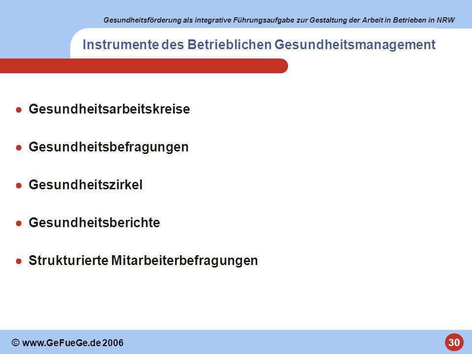 Gesundheitsförderung als integrative Führungsaufgabe zur Gestaltung der Arbeit in Betrieben in NRW 30 © www.GeFueGe.de 2006 Instrumente des Betrieblic