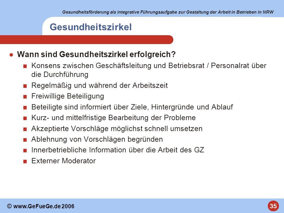 Gesundheitsförderung als integrative Führungsaufgabe zur Gestaltung der Arbeit in Betrieben in NRW 35 © www.GeFueGe.de 2006 Gesundheitszirkel Wann sin