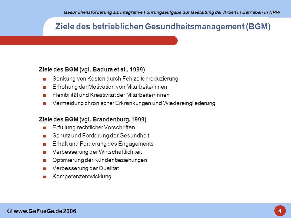 Gesundheitsförderung als integrative Führungsaufgabe zur Gestaltung der Arbeit in Betrieben in NRW 4 © www.GeFueGe.de 2006 Ziele des betrieblichen Ges