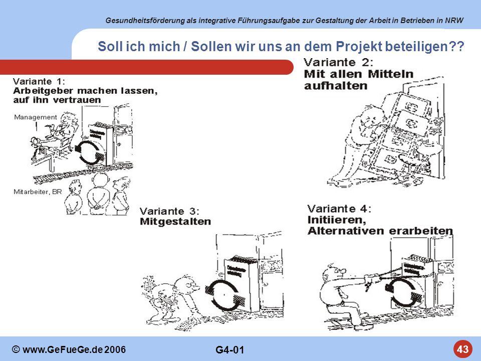 Gesundheitsförderung als integrative Führungsaufgabe zur Gestaltung der Arbeit in Betrieben in NRW 43 © www.GeFueGe.de 2006 Soll ich mich / Sollen wir