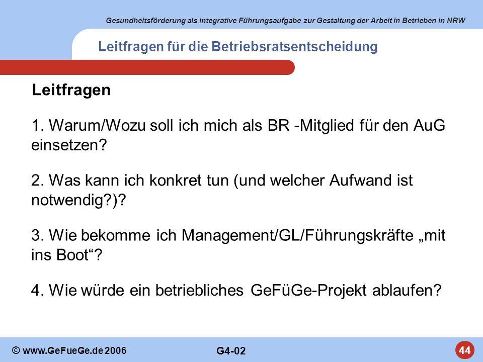 Gesundheitsförderung als integrative Führungsaufgabe zur Gestaltung der Arbeit in Betrieben in NRW 44 © www.GeFueGe.de 2006 1. Warum/Wozu soll ich mic