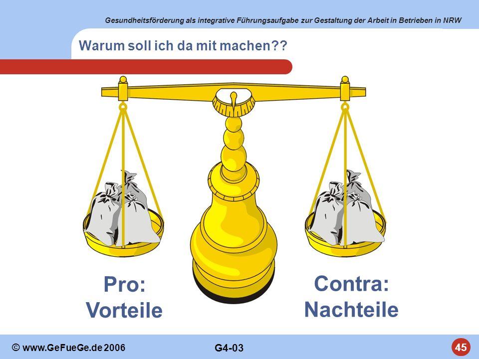 Gesundheitsförderung als integrative Führungsaufgabe zur Gestaltung der Arbeit in Betrieben in NRW 45 © www.GeFueGe.de 2006 Warum soll ich da mit mach