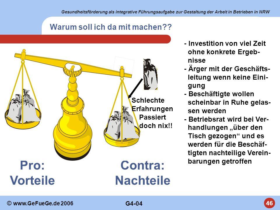 Gesundheitsförderung als integrative Führungsaufgabe zur Gestaltung der Arbeit in Betrieben in NRW 46 © www.GeFueGe.de 2006 Pro: Vorteile Contra: Nach