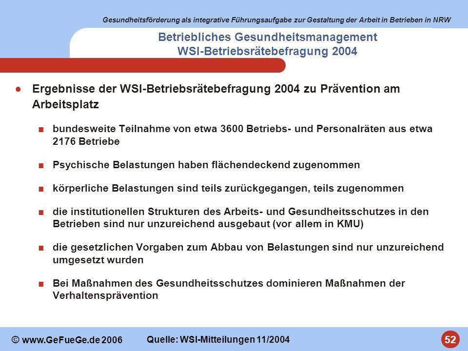 Gesundheitsförderung als integrative Führungsaufgabe zur Gestaltung der Arbeit in Betrieben in NRW 52 © www.GeFueGe.de 2006 Betriebliches Gesundheitsm