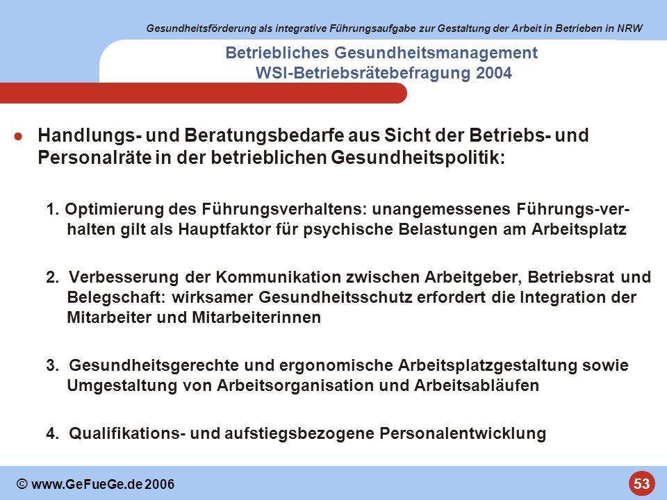 Gesundheitsförderung als integrative Führungsaufgabe zur Gestaltung der Arbeit in Betrieben in NRW 53 © www.GeFueGe.de 2006 Betriebliches Gesundheitsm