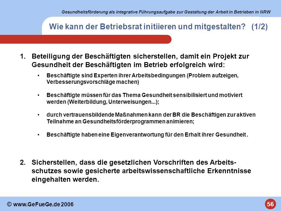 Gesundheitsförderung als integrative Führungsaufgabe zur Gestaltung der Arbeit in Betrieben in NRW 56 © www.GeFueGe.de 2006 1.Beteiligung der Beschäft