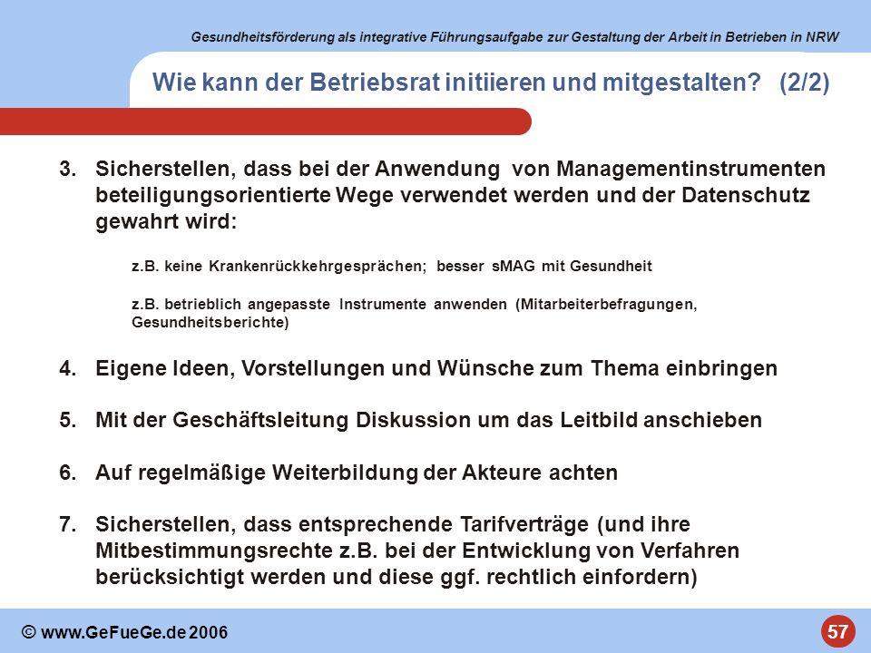Gesundheitsförderung als integrative Führungsaufgabe zur Gestaltung der Arbeit in Betrieben in NRW 57 © www.GeFueGe.de 2006 3.Sicherstellen, dass bei