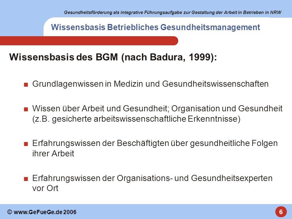 Gesundheitsförderung als integrative Führungsaufgabe zur Gestaltung der Arbeit in Betrieben in NRW 6 © www.GeFueGe.de 2006 Wissensbasis Betriebliches