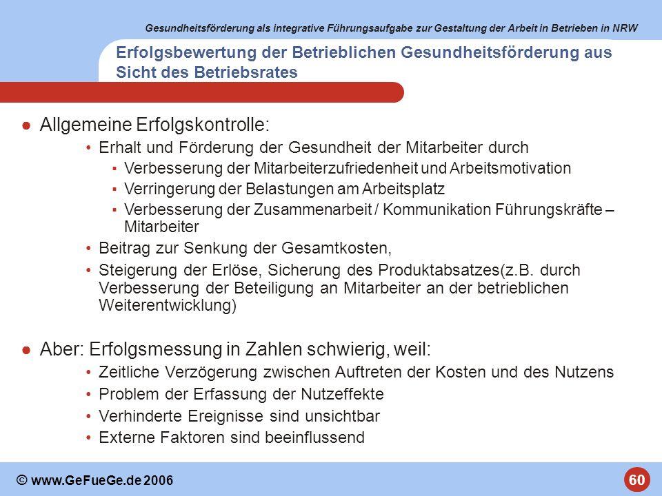 Gesundheitsförderung als integrative Führungsaufgabe zur Gestaltung der Arbeit in Betrieben in NRW 60 © www.GeFueGe.de 2006 Allgemeine Erfolgskontroll
