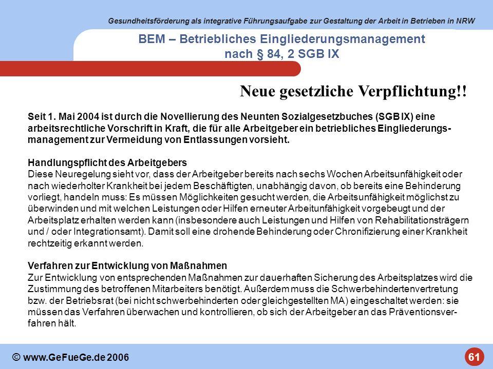 Gesundheitsförderung als integrative Führungsaufgabe zur Gestaltung der Arbeit in Betrieben in NRW 61 © www.GeFueGe.de 2006 BEM – Betriebliches Eingli