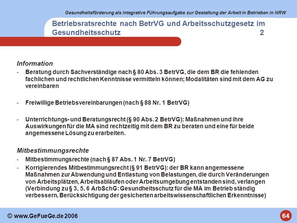 Gesundheitsförderung als integrative Führungsaufgabe zur Gestaltung der Arbeit in Betrieben in NRW 64 © www.GeFueGe.de 2006 Betriebsratsrechte nach Be