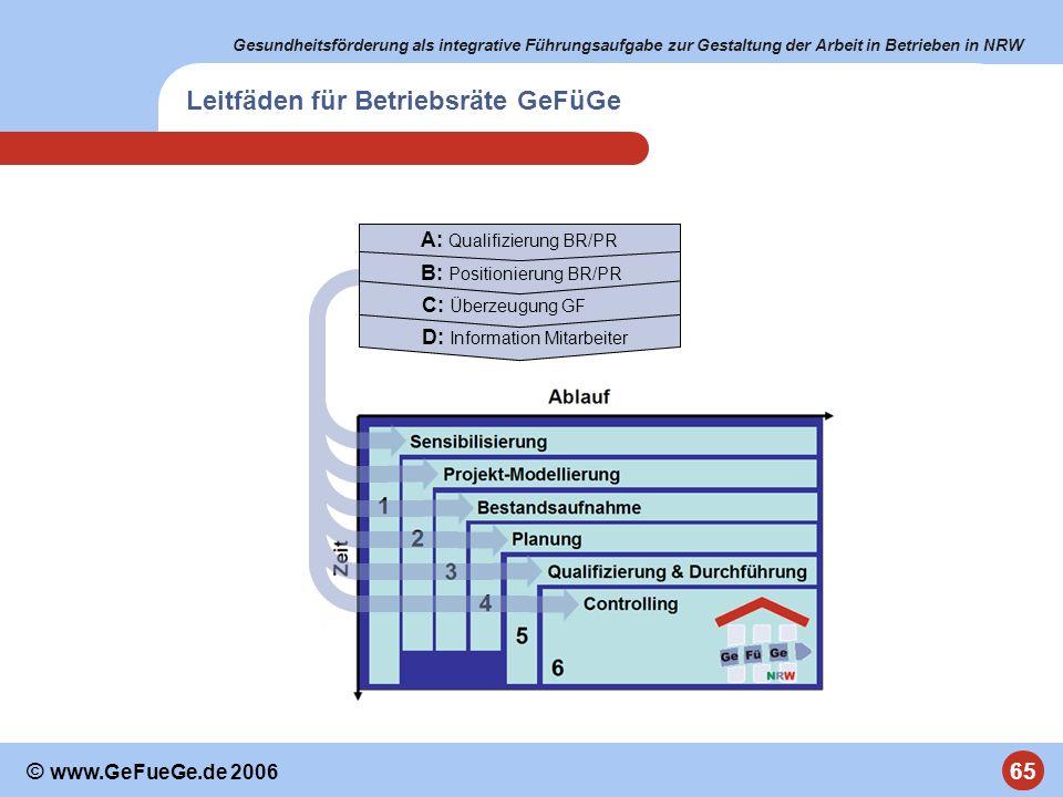 Gesundheitsförderung als integrative Führungsaufgabe zur Gestaltung der Arbeit in Betrieben in NRW 65 © www.GeFueGe.de 2006 D: Information Mitarbeiter