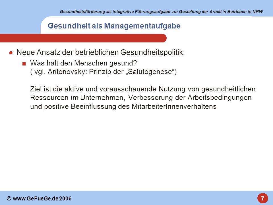 Gesundheitsförderung als integrative Führungsaufgabe zur Gestaltung der Arbeit in Betrieben in NRW 7 © www.GeFueGe.de 2006 Gesundheit als Managementau