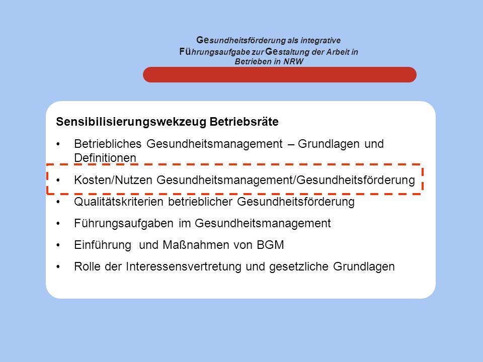 Ge sundheitsförderung als integrative Fü hrungsaufgabe zur Ge staltung der Arbeit in Betrieben in NRW Sensibilisierungswekzeug Betriebsräte Betrieblic