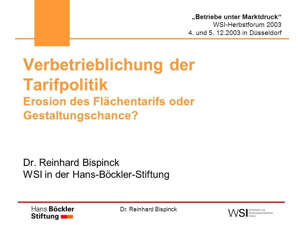 Dr. Reinhard Bispinck Betriebe unter Marktdruck WSI-Herbstforum 2003 4. und 5. 12.2003 in Düsseldorf Verbetrieblichung der Tarifpolitik Erosion des Fl