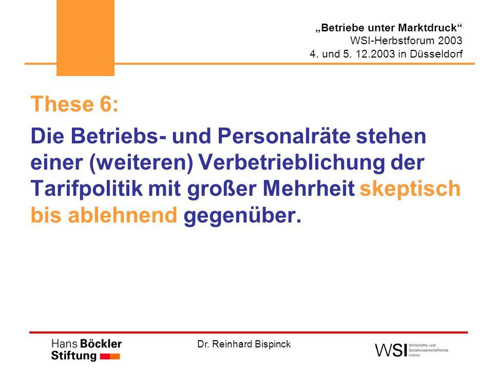 Dr. Reinhard Bispinck Betriebe unter Marktdruck WSI-Herbstforum 2003 4. und 5. 12.2003 in Düsseldorf These 6: Die Betriebs- und Personalräte stehen ei