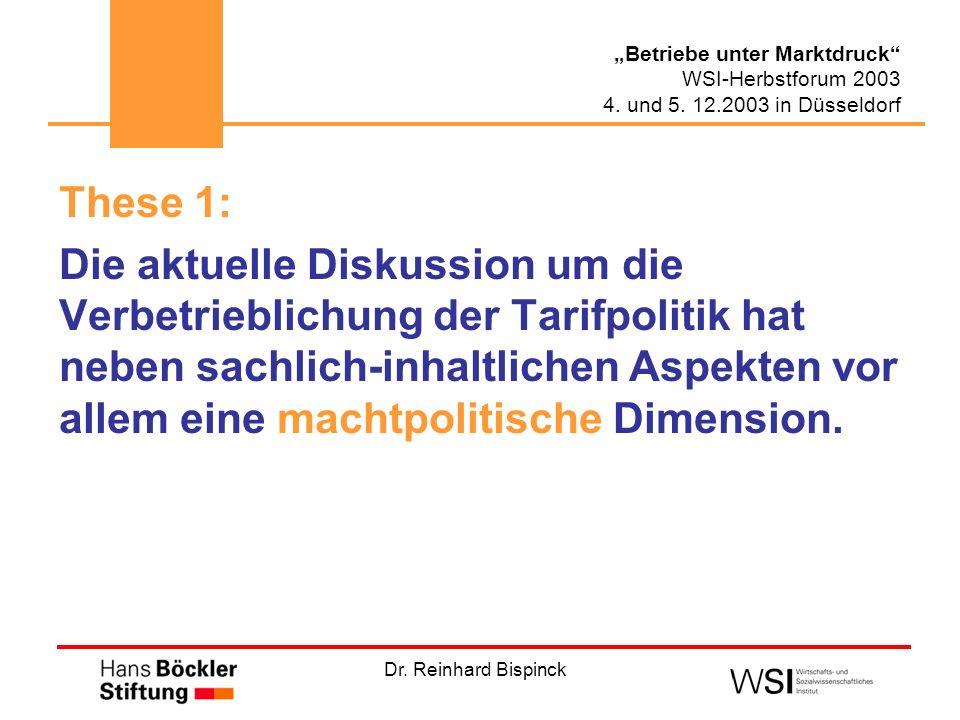 Dr. Reinhard Bispinck Betriebe unter Marktdruck WSI-Herbstforum 2003 4. und 5. 12.2003 in Düsseldorf These 1: Die aktuelle Diskussion um die Verbetrie