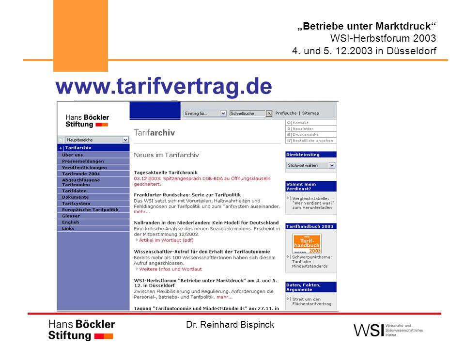 Dr. Reinhard Bispinck Betriebe unter Marktdruck WSI-Herbstforum 2003 4. und 5. 12.2003 in Düsseldorf www.tarifvertrag.de