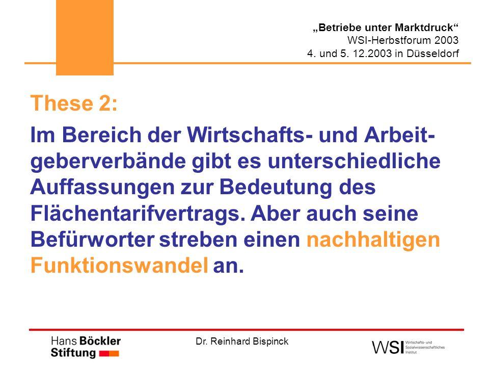 Dr. Reinhard Bispinck Betriebe unter Marktdruck WSI-Herbstforum 2003 4. und 5. 12.2003 in Düsseldorf These 2: Im Bereich der Wirtschafts- und Arbeit-