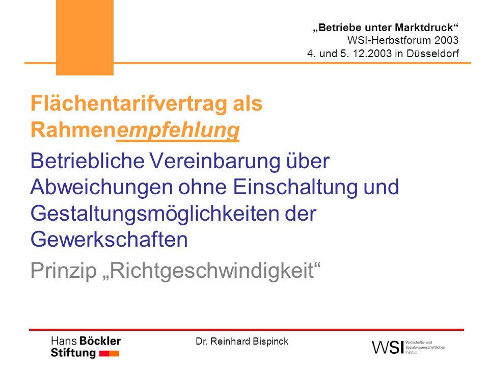 Dr. Reinhard Bispinck Betriebe unter Marktdruck WSI-Herbstforum 2003 4. und 5. 12.2003 in Düsseldorf Flächentarifvertrag als Rahmenempfehlung Betriebl