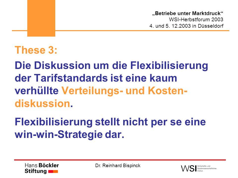 Dr. Reinhard Bispinck Betriebe unter Marktdruck WSI-Herbstforum 2003 4. und 5. 12.2003 in Düsseldorf These 3: Die Diskussion um die Flexibilisierung d