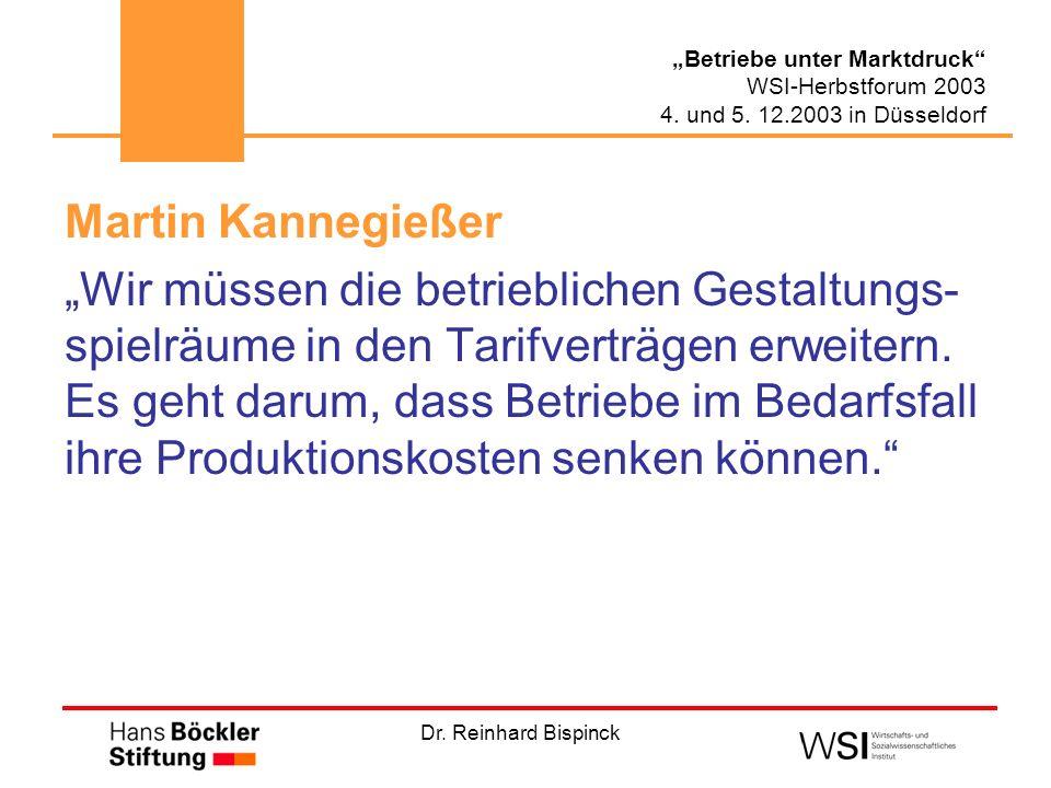 Dr. Reinhard Bispinck Betriebe unter Marktdruck WSI-Herbstforum 2003 4. und 5. 12.2003 in Düsseldorf Martin Kannegießer Wir müssen die betrieblichen G