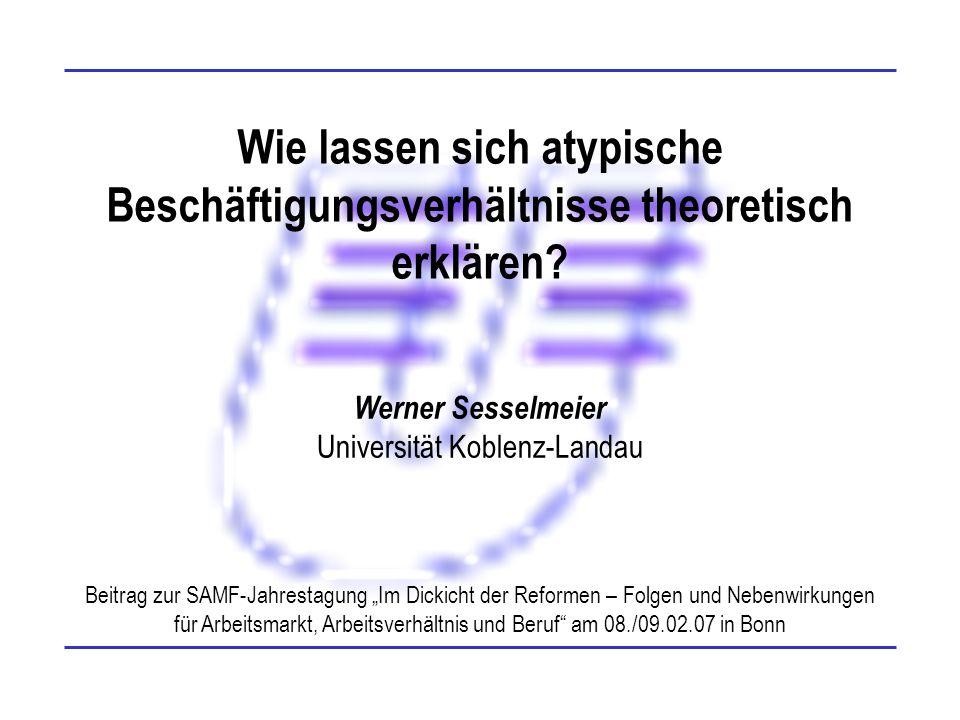 Folie 12 Werner Sesselmeier Schlussfolgerungen II Keine Ablösung des Normalarbeitsverhältnisses durch atypische Beschäftigungsverhältnisse Gespaltene Arbeitsrealität (Baethge u.a.