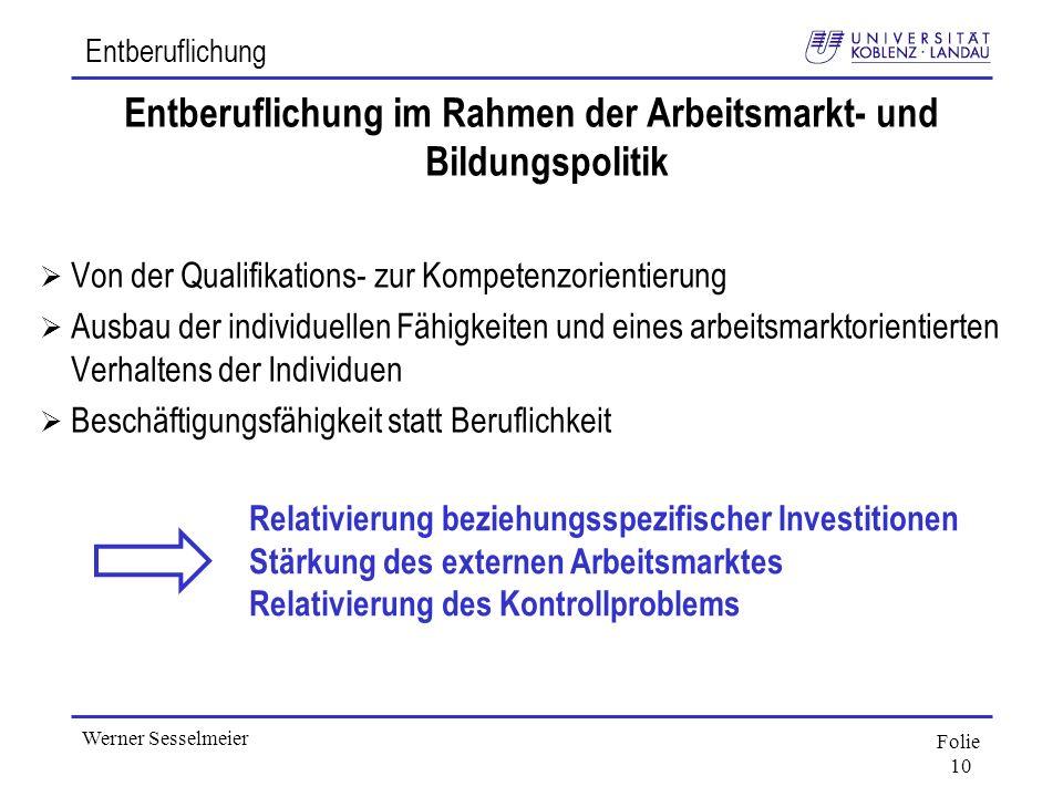 Folie 10 Werner Sesselmeier Entberuflichung Entberuflichung im Rahmen der Arbeitsmarkt- und Bildungspolitik Von der Qualifikations- zur Kompetenzorien