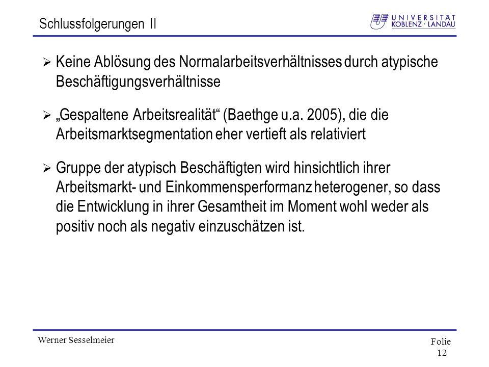 Folie 12 Werner Sesselmeier Schlussfolgerungen II Keine Ablösung des Normalarbeitsverhältnisses durch atypische Beschäftigungsverhältnisse Gespaltene
