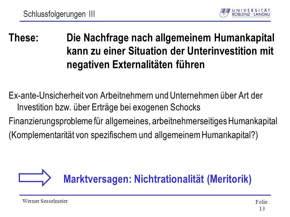 Folie 13 Werner Sesselmeier Schlussfolgerungen III These:Die Nachfrage nach allgemeinem Humankapital kann zu einer Situation der Unterinvestition mit
