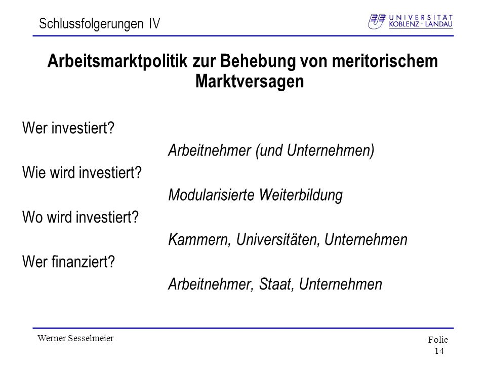 Folie 14 Werner Sesselmeier Schlussfolgerungen IV Arbeitsmarktpolitik zur Behebung von meritorischem Marktversagen Wer investiert? Arbeitnehmer (und U
