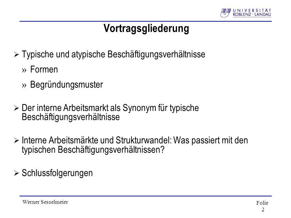 Folie 2 Werner Sesselmeier Vortragsgliederung Typische und atypische Beschäftigungsverhältnisse » Formen » Begründungsmuster Der interne Arbeitsmarkt